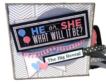 The Big Reveal - Baby Gender Scrapbook - Pregnancy Photo Album -  Paper Bag Album
