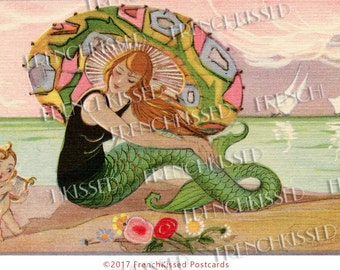 Art Deco Mermaid with Umbrella and Cupid on Beach Chiostri Postcard Digital Printable Download