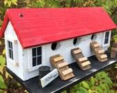 White Chicken Coop Hen House Bird House,  Primitive Birdhouse,  Three Compartment  Bird house Rustic Birdhouse,  Wooden,  Hanging, Handmade