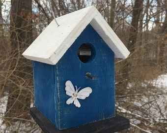 Primitive Birdhouse Royal Blue White Black White Butterfly Birdhouse Unique Bird House Wooden Bird House Handcrafted Birdhouse