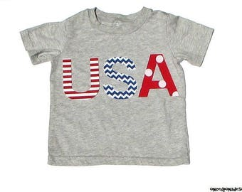 USA//July 4th//4th Of July//Patriotic//Gender Neutral//Fabric Iron On Appliques//Two Sizes Available