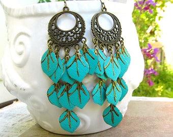 Turquoise earrings, Long chandelier earrings, Boho earrings, Leaf earrings, Colorful Bohemian Jewelry Boho chic jewelry