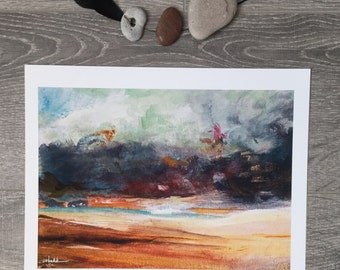 Stormy sky dark clouds beach landscape seascape watercolor painting