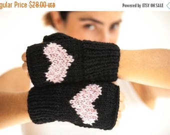 WINTER SALE Fingerless Gloves with Heart -  Mittens - Valentines Day by Afra