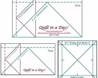 Mini Flying Geese Rulers Set - Set of 2 Geese Rulers plus 1 Fussy Cut Ruler with Instruction Booklet Quilting Notions - Quilt in a Day #2020