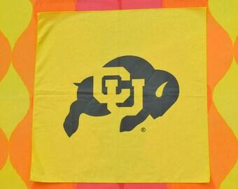 80s vintage bandana scarf university COLORADO BUFFALOES cu boulder bandanna handkerchief 90s