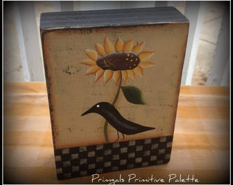 Primitive Crow Sunflower Wood Shelf Sitter Block Home Decor