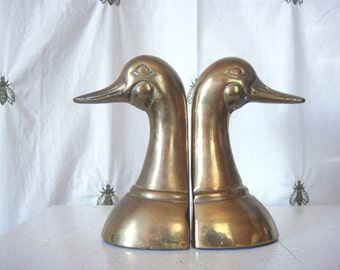 Vintage Brass Duck Bookends, Mallard Ducks, Regal, Home Decor, Shelf Decor