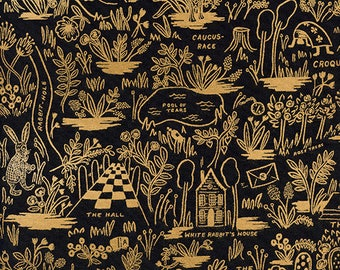 Wonderland Magic Forest in Midnight Black & Gold - Rifle Paper Co. fabric for Cotton+Steel - 100% cotton quilting fabric by the yard