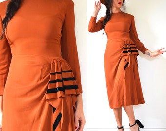 SUMMER SALE / 20% off Vintage 40s Coin Toss Copper Orange Wiggle Dress with Cascading Velvet Trimmed Ruffle (size xs, small)