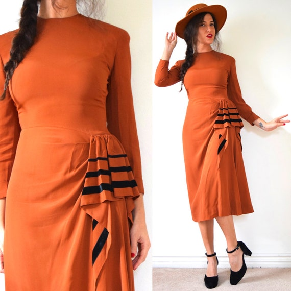 Vintage 40s Coin Toss Copper Orange Wiggle Dress with Cascading Velvet Trimmed Ruffle (size xs, small)