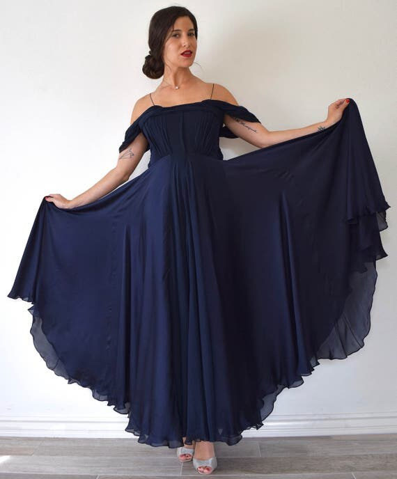 SUMMER SALE/ 30% off Vintage 30s Inspired Blue Black Flowing Silk Off the Shoulder Evening Gown with Sequined Accents (size medium)