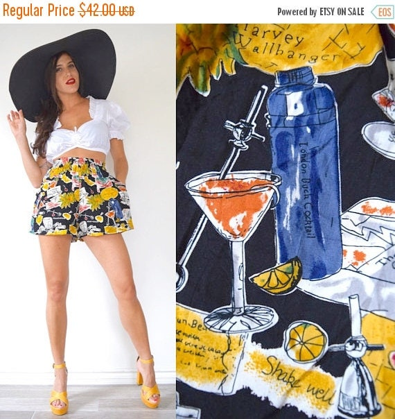 SPRING SALE / 30% off Vintage 80s 90s Five'o'Clock Somewhere Novelty Print High Waisted Tap Shorts (size small, medium)