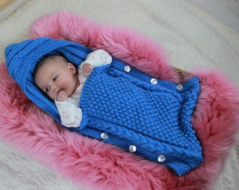 KNITTING PATTERN For Baby Sleeping Bag, Cocoon, Papoose Knitting Pattern PDF 358 Digital Download