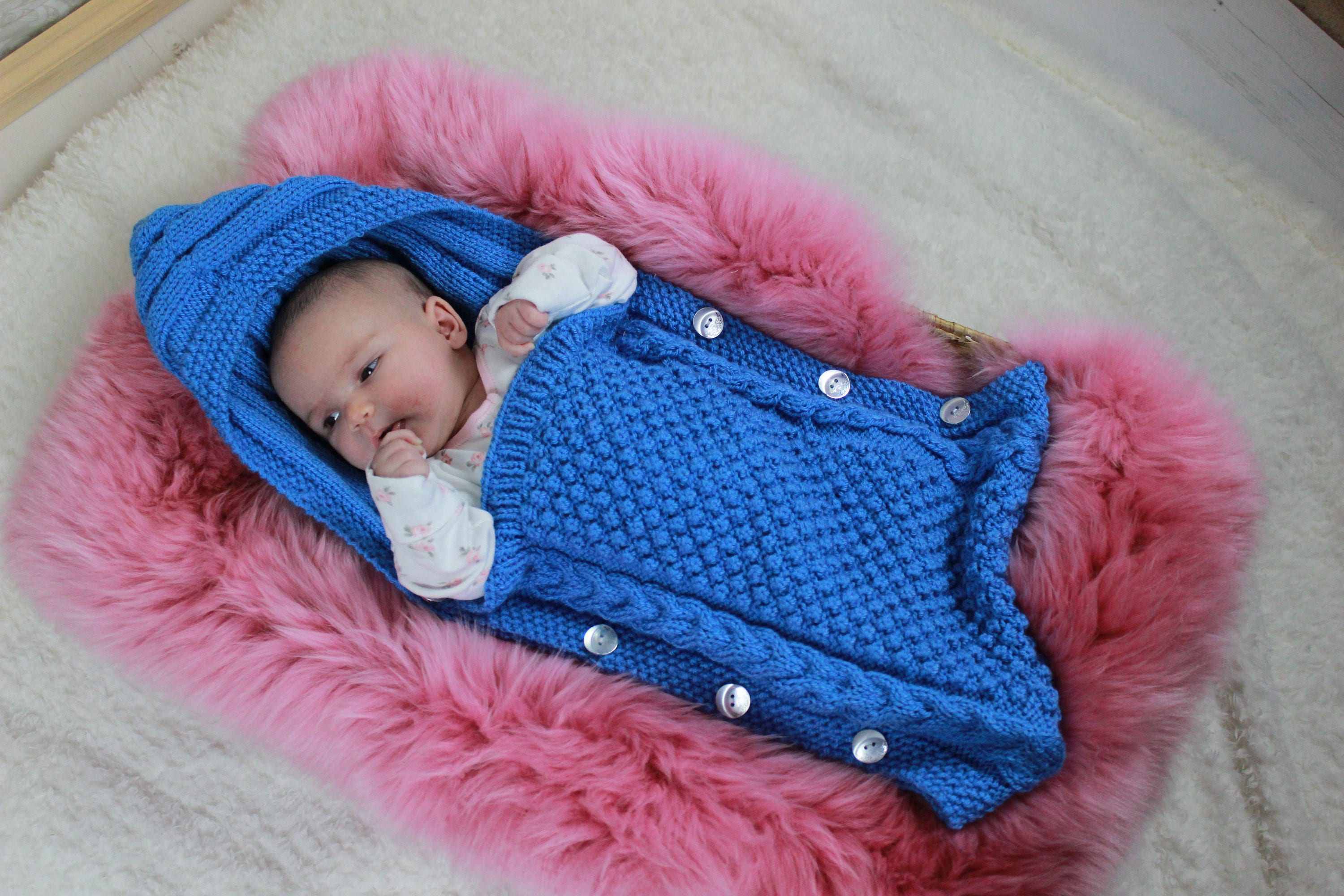 Knitting Pattern Sleeping Bag Baby : KNITTING PATTERN For Baby Sleeping Bag Cocoon Papoose