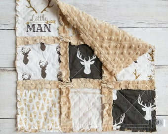 Rustic Minky Rag Quilt Lovey - Deer, Tan, Brown, Ivory - Baby Boy Gift - Stroller Blanket - Mini Quilt - Car Seat Quilt