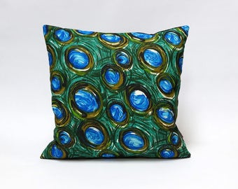 Pillow Cover 16x16 - decorative cushion cover - couch pillow in green and blue  - mid century modern home decor handmade by EllaOsix