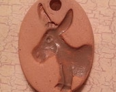 Custom Small Bisque Pottery Pendant or Mini Ornament - Aromatherapy Essential Oil Diffuser w/Glazed Details - DONKEY