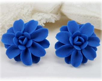 Blue Dahlia Earrings Stud or Clip On - Dahlia Jewelry