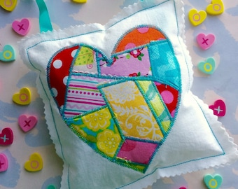 Patchwork Fabric Heart Hanging Valentine Ornament