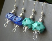 Reserved for Michelle, Two Pair, Lampwork Earrings Sterling, SRA Artisan Lampwork Etched Glass