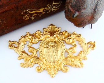 BRASS * Victorian Scrolling Plaque High Relief Cherub With Deer Crest Stampings - Jewelry Ornament Findings ~ Brass Stamping (C-906)