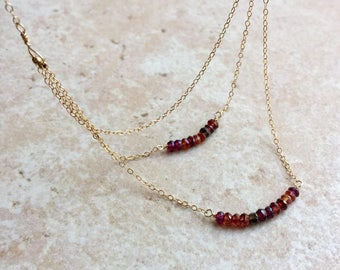 Sapphire Beaded Bar Necklace Tundra Sapphire Jewelry Gold Filled Necklace Dainty Layered Necklace Gemstone Beaded Necklace