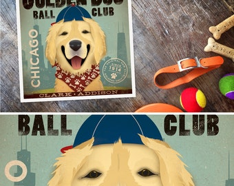 Golden Retriever Baseball chicago graphic illustration giclee archival signed artist's print by stephen fowler