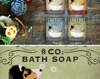 Australian Shepherd aussie dog  bath soap Company artwork on gallery wrapped canvas by Stephen Fowler