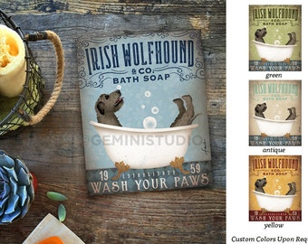 Irish Wolfhound dog bath soap Company artwork on gallery wrapped canvas by Stephen Fowler