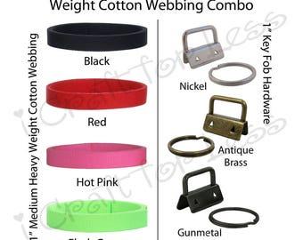 20 Yards Cotton Webbing Medium-Heavy / 50 Key Fob Hardware Combo - 1 Inch - Plus Instructions - SEE COUPON