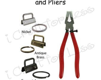 """10 - 1.25"""" Key Fob Hardware with Key Rings and Plier Combo - Plus Instructions - SEE COUPON"""