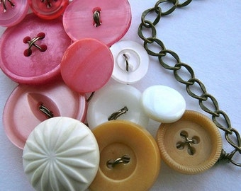 Holiday Jewelry Sale Tan, White, and Coral Pink Large Vintage Button Statement Necklace