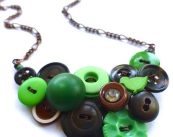 Spring Sale Button Necklace with Green and Brown Repurposed Vintage Buttons - Statement Jewelry