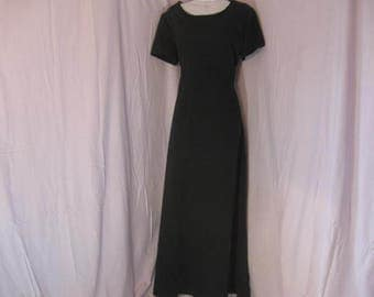 Long Black High Waist Dress, Black Gown, Plain Black Dress