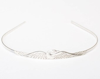 Swan headband bird phoenix silver metal retro crown bridal hair accessory