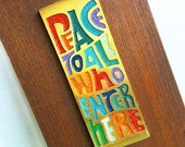 PEACE... Vintage Peace To All Who Enter Here Terra Sancta Wall Plaque Sign Mid Century Modern Bohemian Woodstock Welcome