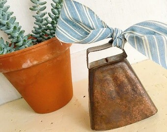 You Can Ring My Bell... Vintage Farm Brass Cow Bell Cowbell Dairy Farmhouse Style Home Decor Industrial Primitive Dinner Bell