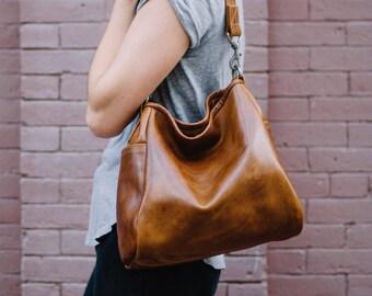 ORIGINAL BUCKET BAG in premium veg tan American saddle leather - soft slouchy leather shoulder bag