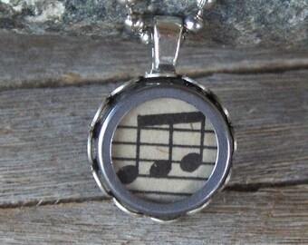 SALE Typewriter Key Necklace, Pendant Vintage Musical Notes