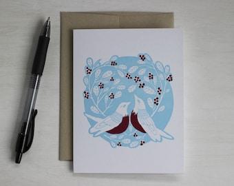 Woodland Letterpress Blank Card, Bird Card, Robin Card, Anniversary Card, Engagement Card, Wedding Card, Valentine's Day, Robin Red Breast
