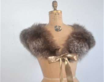 Fox Fur Stole-Vintage fox fur wrap with satin ribbon