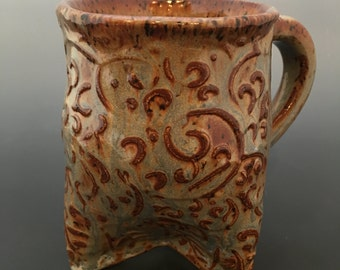 Ceramic Mug Textured Tri Foot Mug Handmade Mug Coffee Cup M3