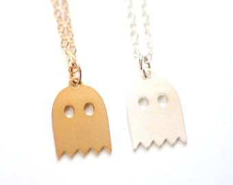Tiny Ghost Necklace - Gold or Silver Plated   14k Gold Fill or Sterling Silver Chain