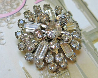 Vintage Clear Rhinestone Tiered Brooch, Prong Set Stones ... Round Rhinestone Pin, Domed