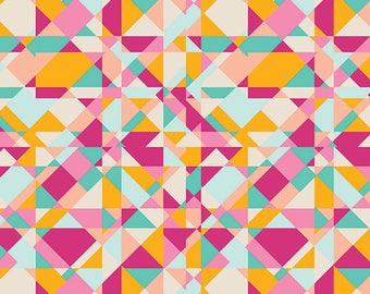 Geometric Fabric, Bright Fabric, Home Decor or Quilting fabric, Art Gallery Fabric, Fabric by the Yard, Go-Go London Joyful- Choose the cut
