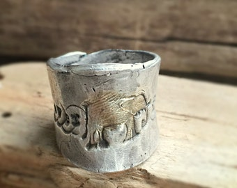 Lucky elephantastic aka the tossed in all directions ring in recycled fine silver size 8 1/2