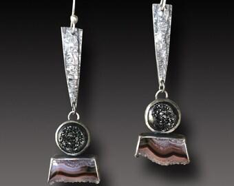 Druze Earrings Agua Nueva Agate  Sterling Silver Earrings Crystal Edge Dangle earrings
