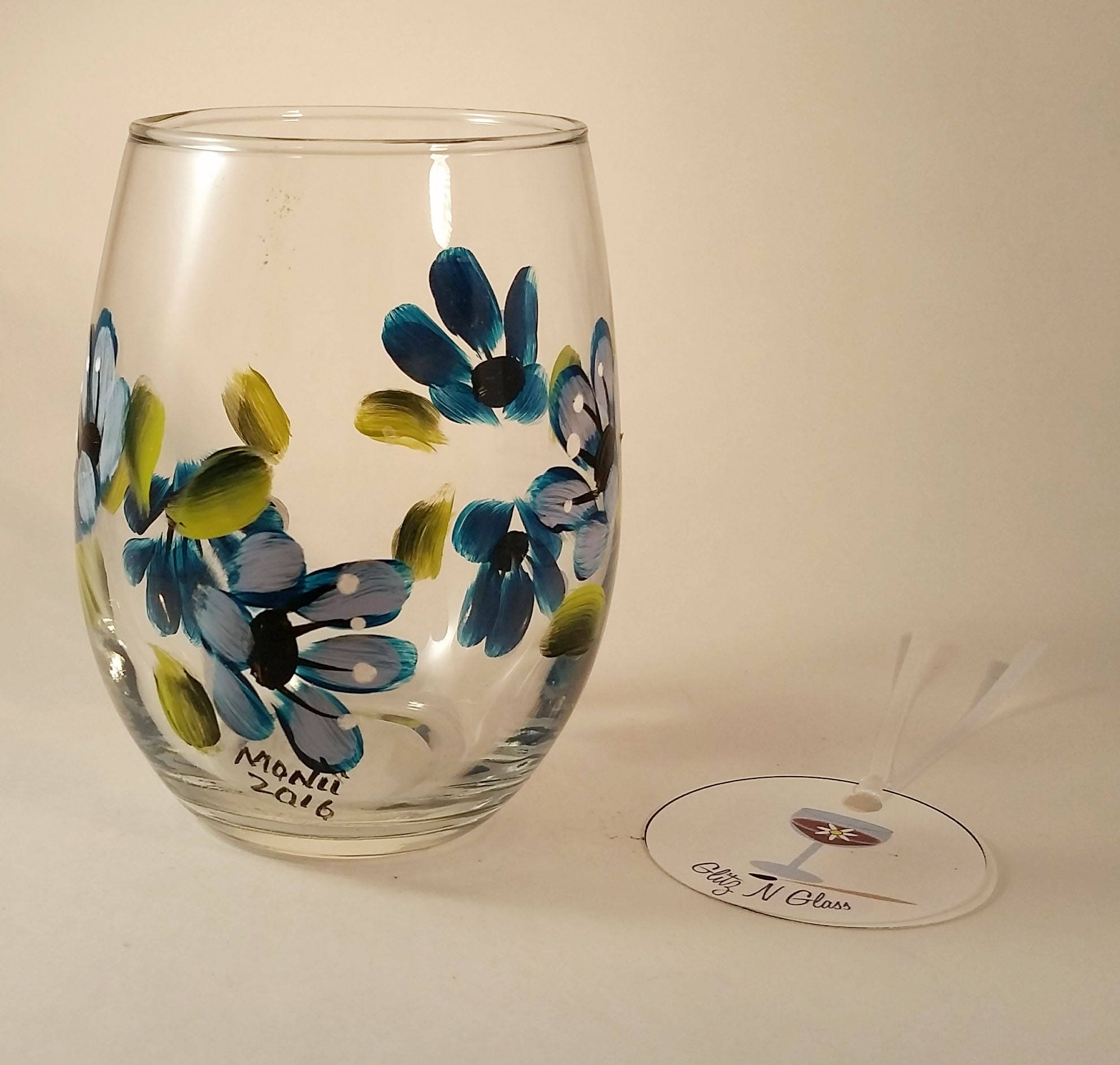 Hand painted blue floral stemless wine glass for Painted stemless wine glasses