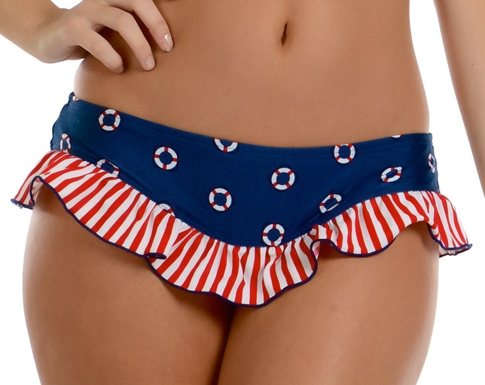 Victoria Low Rise Bikini Bottom in Navy Lifering Print S ONLY!!